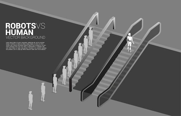 Le robot se déplace plus vite que le groupe d'homme d'affaires avec escalator.