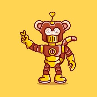 Robot singe mignon avec signe de main amour paix
