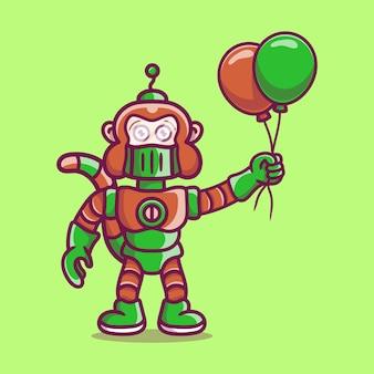 Robot singe mignon tenant un ballon