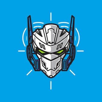 Robot soldat head warrior logo avec fond géométrique