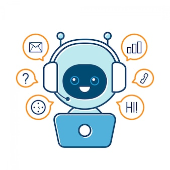 Robot souriant mignon, chat bot et signes de communication. illustration de personnage de dessin animé plat moderne. isolé sur blanc. bulle parlée. service de support vocal communication bot de discussion