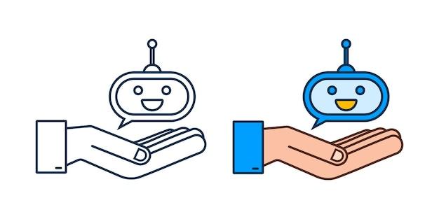 Robot souriant mignon dans les mainsvector illustration de personnage de dessin animé plat moderne