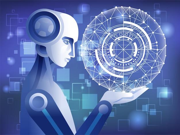 Robot tenant holographe