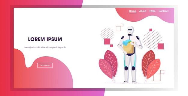 Robot tenant le panier à linge avec des vêtements sales, la technologie de l'intelligence artificielle, le concept d'entretien ménager, l'espace de copie horizontal pleine longueur