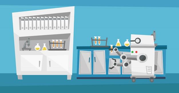 Robot travaillant dans un laboratoire avec un tube à essai.