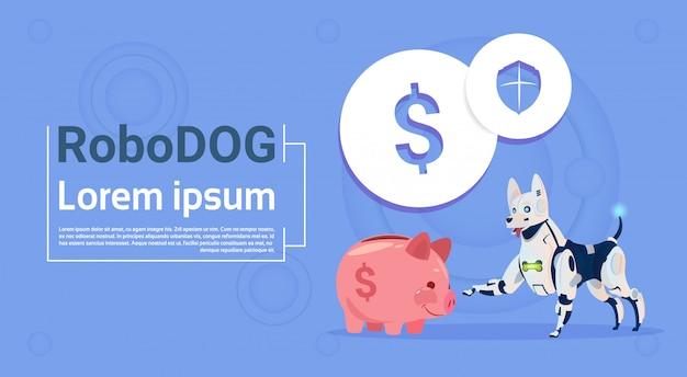 Robotique chien assis avec piggy bank concept bancaire en ligne animal moderne robot animaux intelligence artificielle technologie
