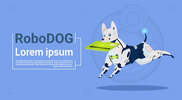 Robotique chien tenir carte de crédit paiement mobile pour magasinage en ligne animal moderne robot animaux intelligence artificielle technologie