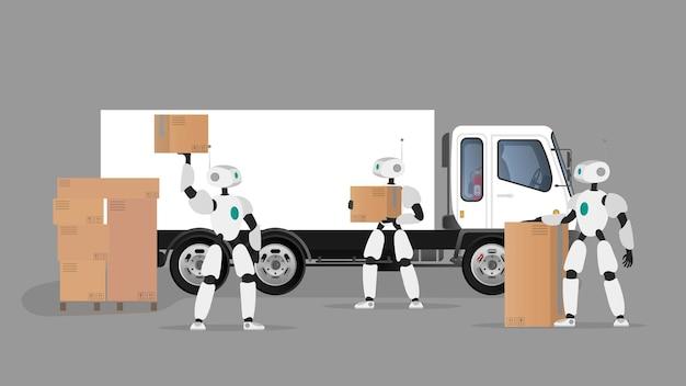 Des robots blancs tiennent des boîtes. des robots futuristes chargent des caisses dans un camion.