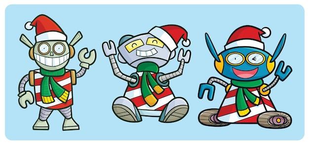 Robots chirstmas drôles en style cartoon