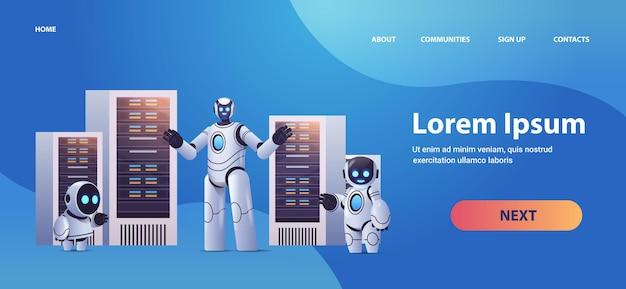 Robots dans la salle des serveurs analyse de données big cloud technologie d'intelligence artificielle