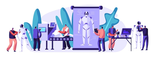 Robots de fabrication et de programmation de personnages d'ingénieurs. matériel robotique et génie logiciel en laboratoire avec équipement de haute technologie. technologie intelligence artificielle dessin animé plat vector illustration