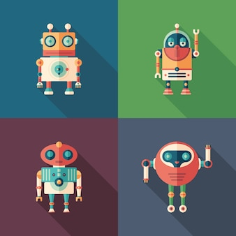 Robots heureux plats icônes carrées avec longues ombres