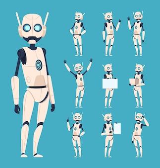 Robots mignons. les personnages android en action posent avec des personnes humanoïdes de dessin animé de bras bioniques.
