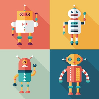 Robots plats icônes carrées définies avec de longues ombres.
