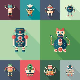 Robots sympathiques ensemble d'icônes plates et carrées avec longues ombres.