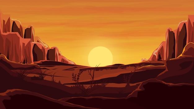 Rochers dans le désert, coucher de soleil orange, montagnes, sable, ciel magnifique.