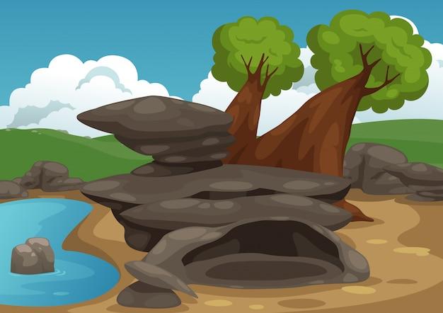 Rochers avec vecteur de scène de l'étang