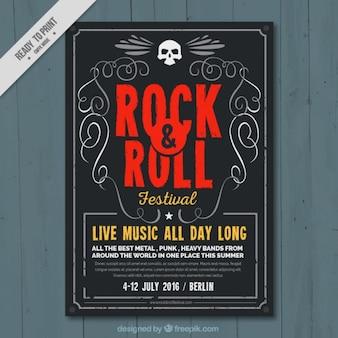Rock and festival de musique de rouleau affiche