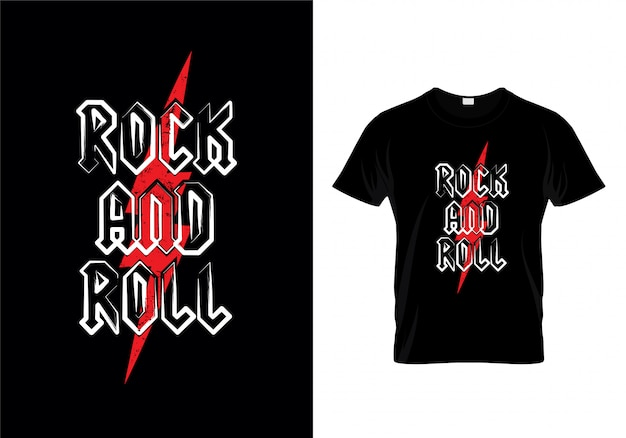 Rock and roll t shirt design vecteur