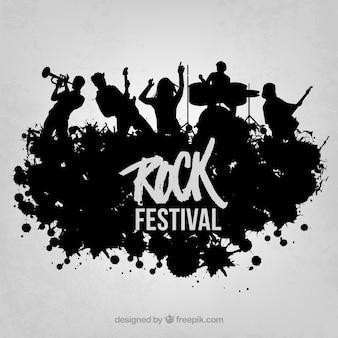 Rock live sur le vecteur de la scène silhouette