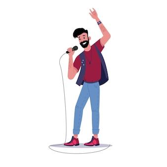 Rock soliste chantant dans le microphone isolé barbu chanteur vecteur musicien solo chanter des chansons