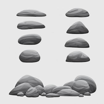 Rock stone set vector collection d'illustration de dessin animé
