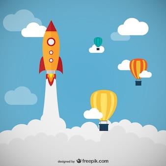 Rocket et ballons vecteur