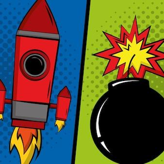 Rocket et bombe explosion pop art comique