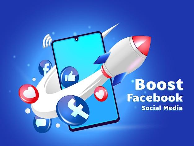 Rocket boostant le marketing numérique d'acebook avec un smartphone