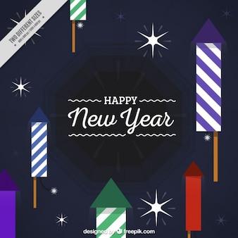 Rocket et les étoiles de fond pour la nouvelle année