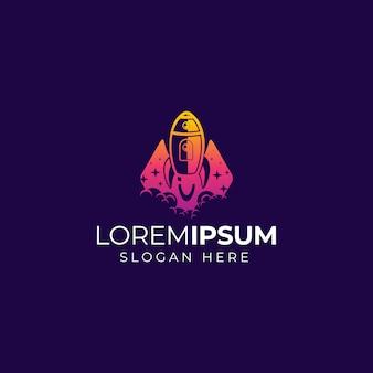 Rocket logo on purple