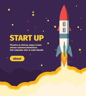 Rocket nouvelle bannière web de démarrage