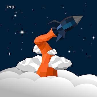 Rocket papercraft décoller dans le ciel nocturne
