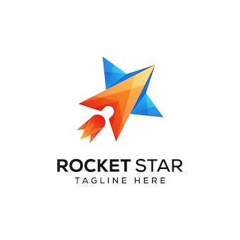 Rocket star logo premium vector