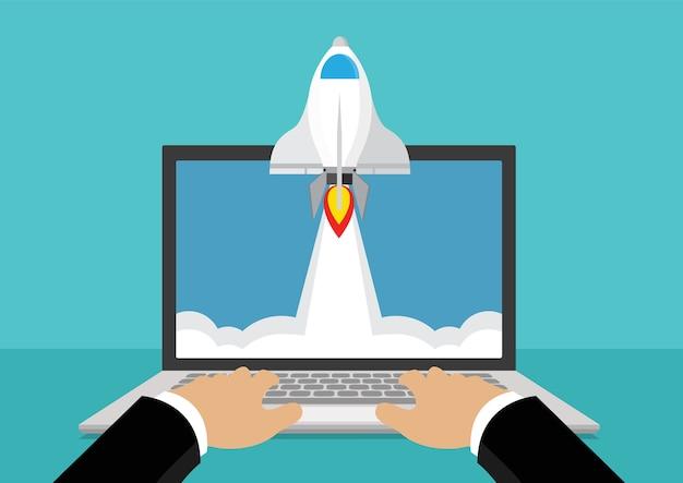 Rocket start à l'air du moniteur d'ordinateur portable