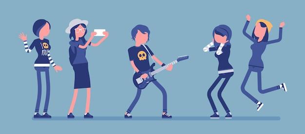 Rockstar célèbre et fans fous de lui. jeune musicien pop masculin célèbre, chanteur bien connu avec guitare, les gens l'admirent et le soutiennent. illustration vectorielle avec des personnages sans visage