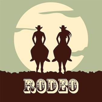 Rodeo background avec deux chevaux