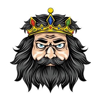 Roi aux cheveux longs et noirs avec la couronne d'or pleine de diamant