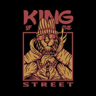 Roi de la conception de vecteur de lion de rue