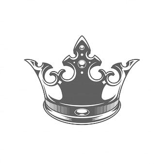Roi couronne royale ilhouette isolé sur fond blanc.