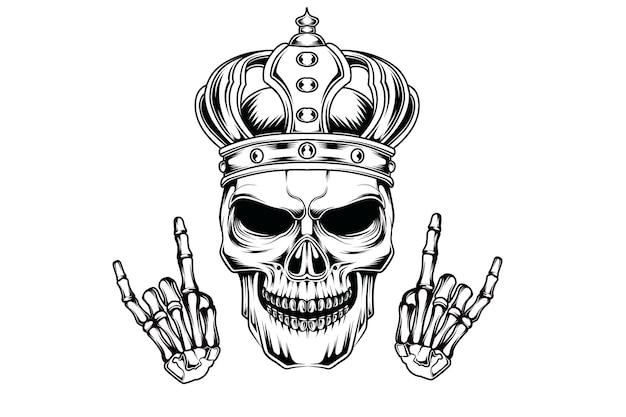 Roi du crâne main dessin illustration