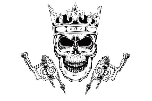 Roi du dessin à la main du tatouage