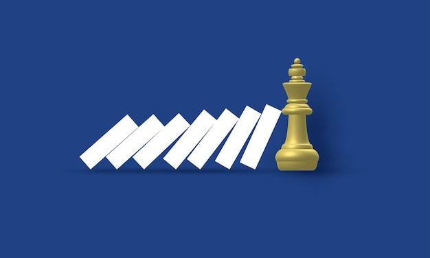 Roi d'échecs arrêtant l'effet domino gestion des risques concept d'inspiration business