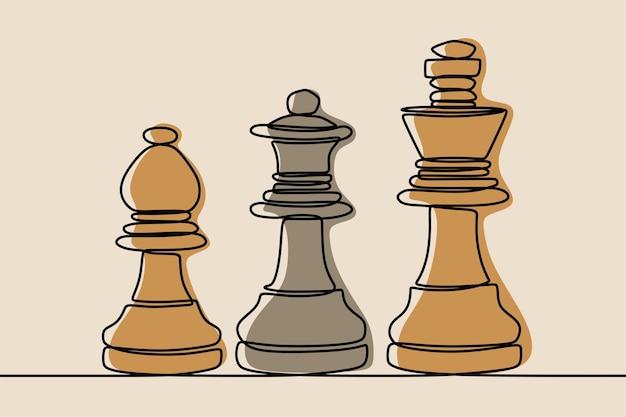 Roi d'échecs, reine, dessin au trait continu d'une ligne d'évêque