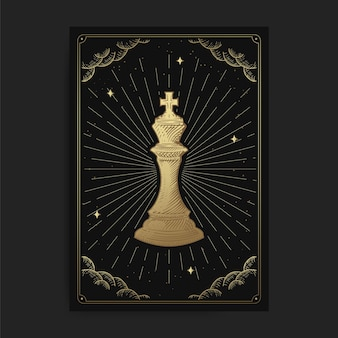 Roi ou empereur. cartes de tarot occulte magique, lecteur de tarot spirituel boho ésotérique, astrologie de carte magique, dessin spiritua