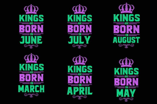 Le roi est né dans la conception de citation d'anniversaire de typographie