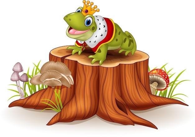Roi de grenouille drôle de bande dessinée assis sur une souche d'arbre