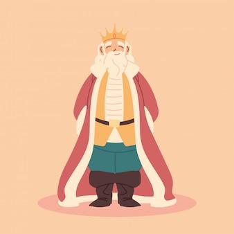 Roi, gros homme avec couronne et robes royales, monarque