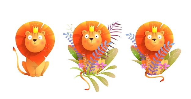 Roi lion d'afrique dans la collection d'art clip nature lion de style aquarelle de dessin animé pour les enfants