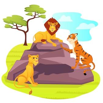 Roi lion assis sur un rocher, femme lionne et tigre